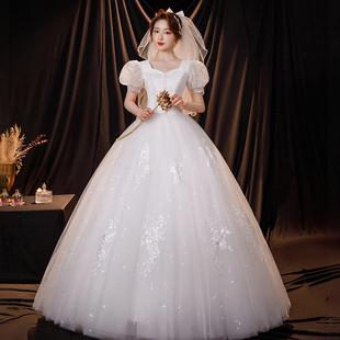 紫桐叶婚纱新娘2021白色孕妇小个子法式轻主简约大气公主风气