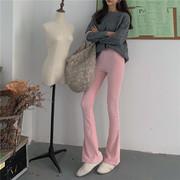 LGGDJDZchic风高弹力灯芯绒显瘦高腰微喇叭长裤女