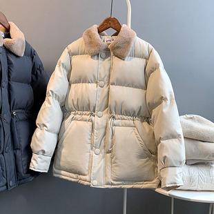 羽绒棉服女短款冬甜美学生外套抽绳收腰翻领毛领加厚chic棉衣