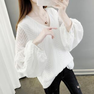 2021早秋款小衫高端雪纺上衣大码洋气欧洲站女仙气显瘦遮肚子