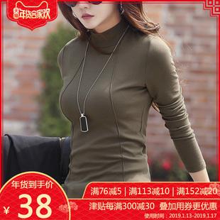 秋冬季加绒加厚半高领棉打底衫女装长袖2018百搭T恤上衣