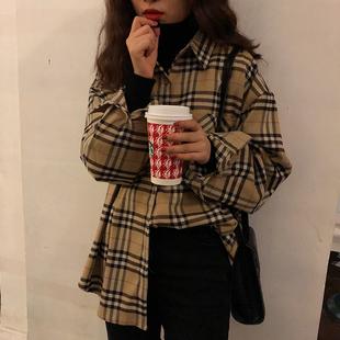复古格纹衬衫女装秋冬chic上衣原宿风polo衫宽松磨毛格子衬衣