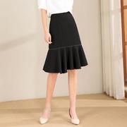 简约鱼尾半身裙女装夏季2021年韩版气质成熟优雅黑色中裙子