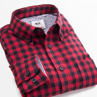 MJX2019夏季磨毛男格子衬衫长袖青年纯棉打底衬衣潮