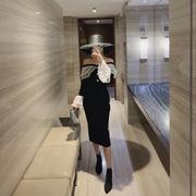 2018秋冬季气质名媛一字肩蕾丝拼接中长款收腰包臀连衣裙