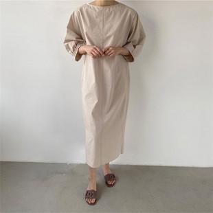 大码圆领长衫连衣裙棉麻女装宽松肩韩版连跨境连衣裙纯色