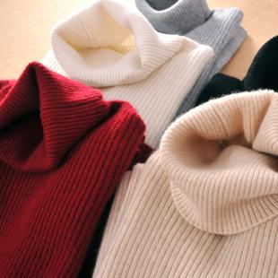 秋冬羊绒衫女高翻领加厚短款打底衫纯色羊毛显瘦长袖毛衣