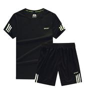2019套装男夏季运动两件套晨跑跑步速干衣宽松圆领t恤短袖潮