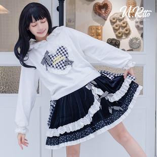 丝绒蛋糕sk洛丽塔半身裙原创甜美可爱日常百搭Lolita套装卫衣短裙