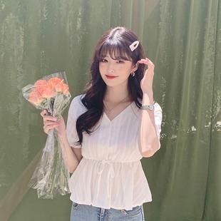 韩国chic衬衫女设计感小众洋气复古心机刺绣V领短袖收腰上衣