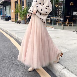 半身裙女秋冬季2018高腰仙女网纱裙ins超火的裙子中长款纱裙