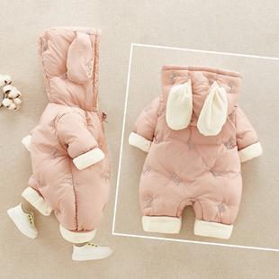 网红婴儿服冬装加厚连体衣新生儿衣服新年装外出抱衣宝宝保暖哈衣