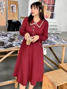 米可家大码女装秋冬遮肉打底针织连衣裙胖mm遮肚减龄洋气显瘦裙子