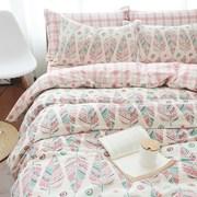 美式风格床品件套4被套床单四被套全棉田园床上用品复古纯棉