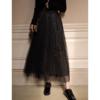 网红很仙的网纱蕾丝半身裙秋冬女2018中长款高腰黑色仙女纱裙
