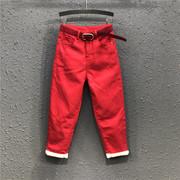 欧洲站大红色加绒加厚冬季老爹牛仔长裤女高腰宽松休闲哈伦裤