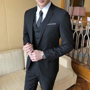 西服套装男士职业伴郎韩版新郎婚礼商务正装外套修身休闲小西装男