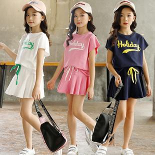 女童运动套装夏季纯棉时尚中大儿童演出服母女亲子姐妹装洋气套裙