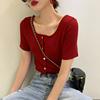 酒红色性感短袖t恤女夏2019方领紧身高腰短款打底衫上衣