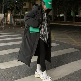 荒荒家黑白色中长款棉服2020冬季韩版宽松加厚连帽棉袄外套女