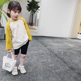 美妞之城 女童宝宝拼色表情t恤 2019春季女童装 洋气翻边袖
