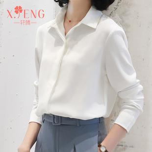轩腾春夏2019雪纺白衬衫女装长袖职业衬衣气质上衣工作服