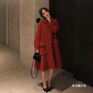 珊珊 冬季毛呢外套女中长款双面呢羊毛过膝红色立领法国大衣