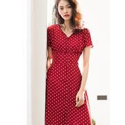 日系红色波点连衣裙女夏高端大牌设计感小众法式海边度假衬衫长裙