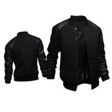 春秋皮袖棒球服夹克男baseball jacket men spring clothing coat
