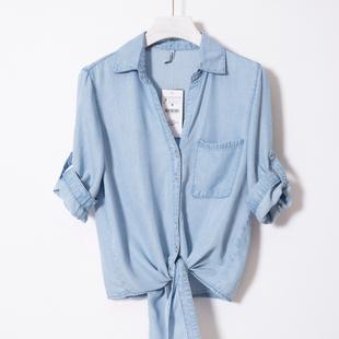 欧美夏季天丝牛仔衬衣女下摆打结衬衫薄款披肩短款小外套短袖