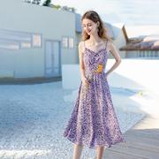 法式浅紫色碎花吊带连衣裙子女小个子设计感外穿2021年春秋夏