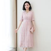 雪纺连衣裙女夏2019夏季女装小香风中长款气质粉色裙子仙女潮