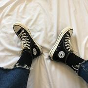 2019春新高帮帆布鞋经典黑色白色布鞋自留款鞋高筒滑板鞋百搭女鞋