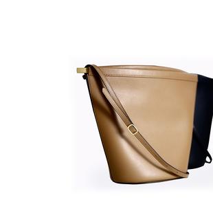 K姐自制 夹子水桶包 两色选柔软牛皮大容量水桶包单肩斜挎包女包