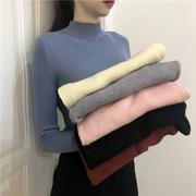 2018女装ulzzang百搭针织衫显瘦半高领毛衣打底衫潮