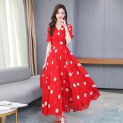 2021名媛夏季法式波点连衣裙女收腰显瘦红色雪纺长款大摆长裙
