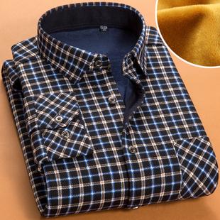 秋冬季加厚加绒保暖衬衫男士格子衬衫男长袖  衬衣男潮衫寸