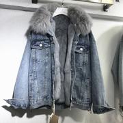 冬装宽松加厚兔毛内胆牛仔短外套真狐狸毛领加厚保暖上衣