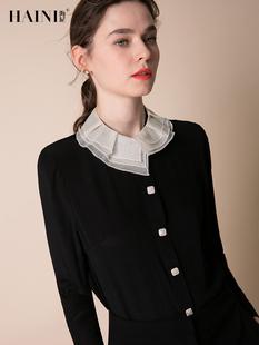 海尼2019春季拼接气质百搭黑色显瘦真丝长袖衬衫女桑蚕丝上衣