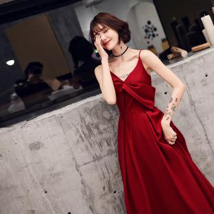 敬酒服新娘2019春款结婚夏款现代高贵吊带红色礼服女显瘦性感