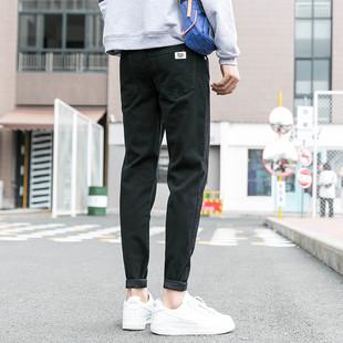 秋冬季黑色牛仔裤男加绒厚小脚青少年长裤子学生弹力潮流