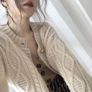 ohmyshop针织外套女秋冬复古温柔毛衣短款慵懒风加厚羊毛针织开衫