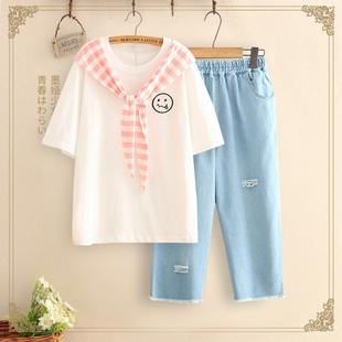 中学生夏装女学院风宽松高初中生运动两件套少女短袖套装