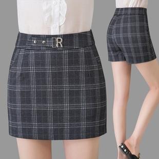 夏薄款大码裙裤弹力高腰显瘦妈妈打底女格子外穿假两件短裤打底潮