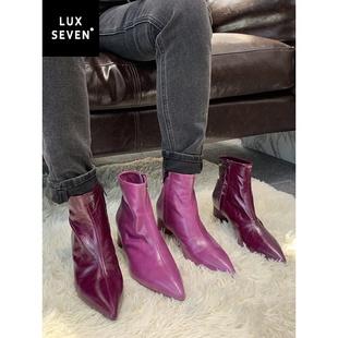 设计师限定Lux Seven 天生自带神秘感的紫色女巫靴短靴女