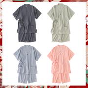 日式睡衣 条纹汉服夏薄款大码睡衣女短袖短裤家居情侣亲子两件套