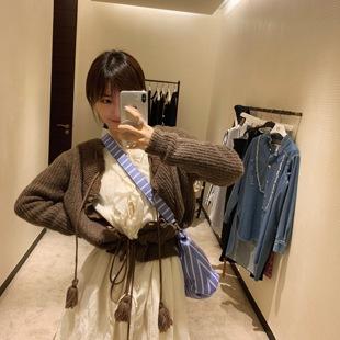 vcruan阿希哥 流苏针织开衫女气质短款外套纯色慵懒风毛衣
