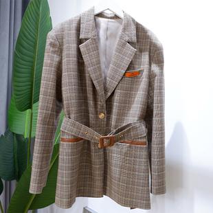 设计师款春秋小西装外套西服上衣长袖常规格子显瘦扣西装领通勤