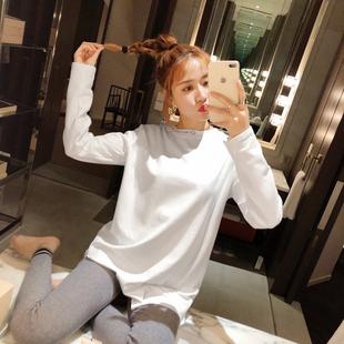 秋冬女装2018宽松上衣百搭领口字母白色打底长袖T恤