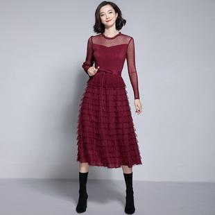 2018冬季女装显瘦蕾丝网纱过膝长裙长袖层层蛋糕裙打底连衣裙